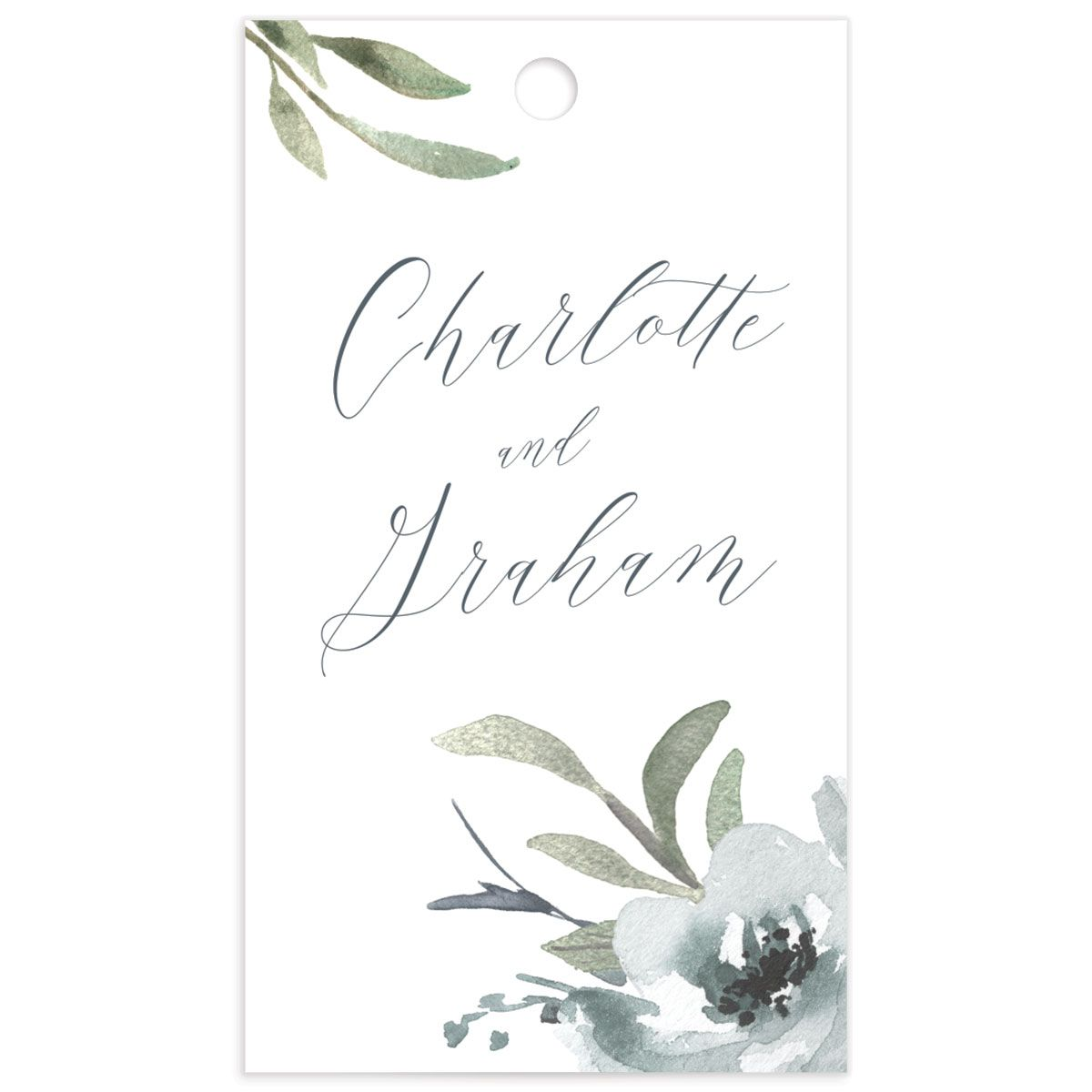 muted floral wedding favor gift tags in dusty blue