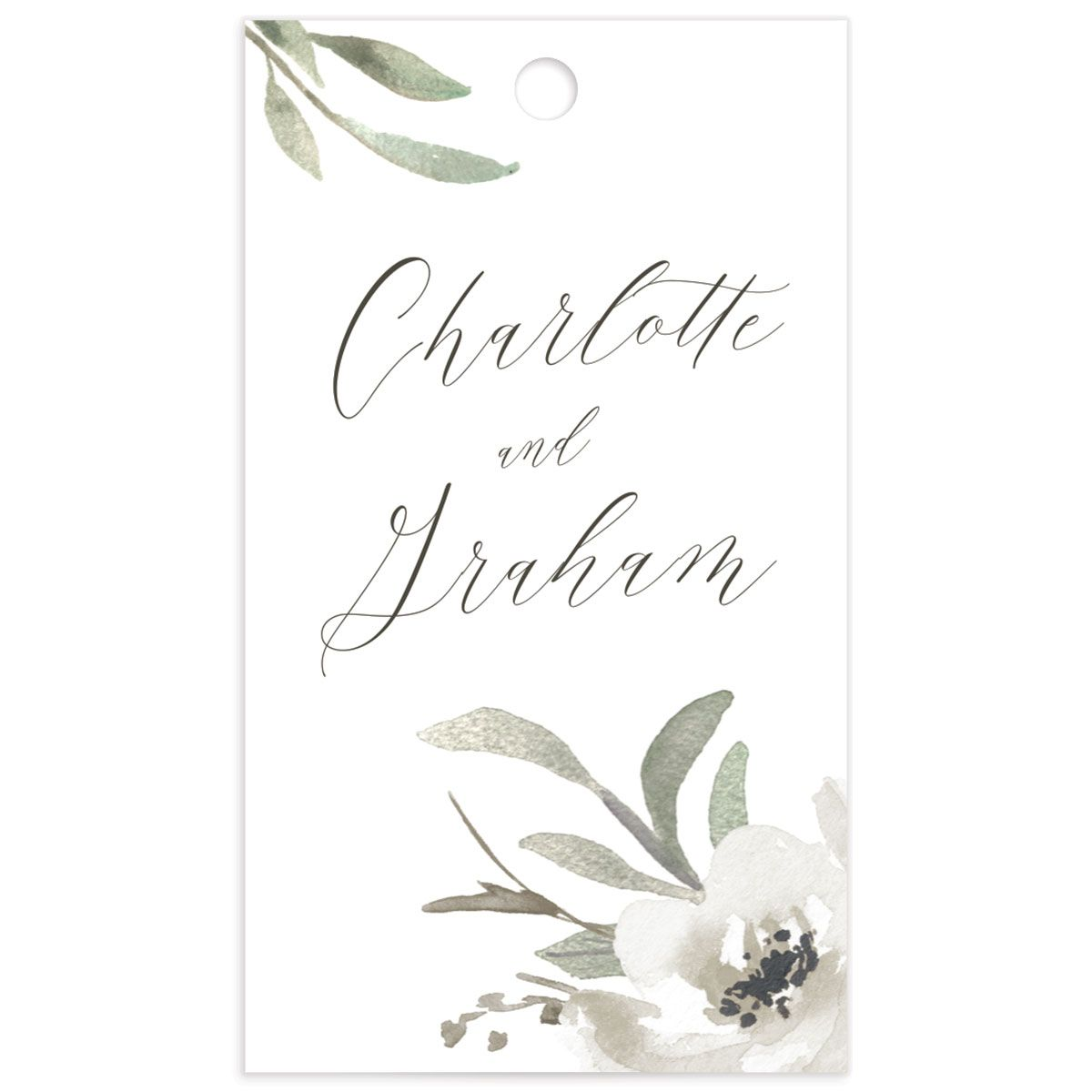 muted floral wedding favor gift tags in white