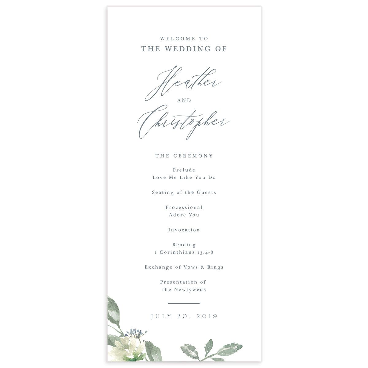 Dusted Calligraphy wedding programs in blue