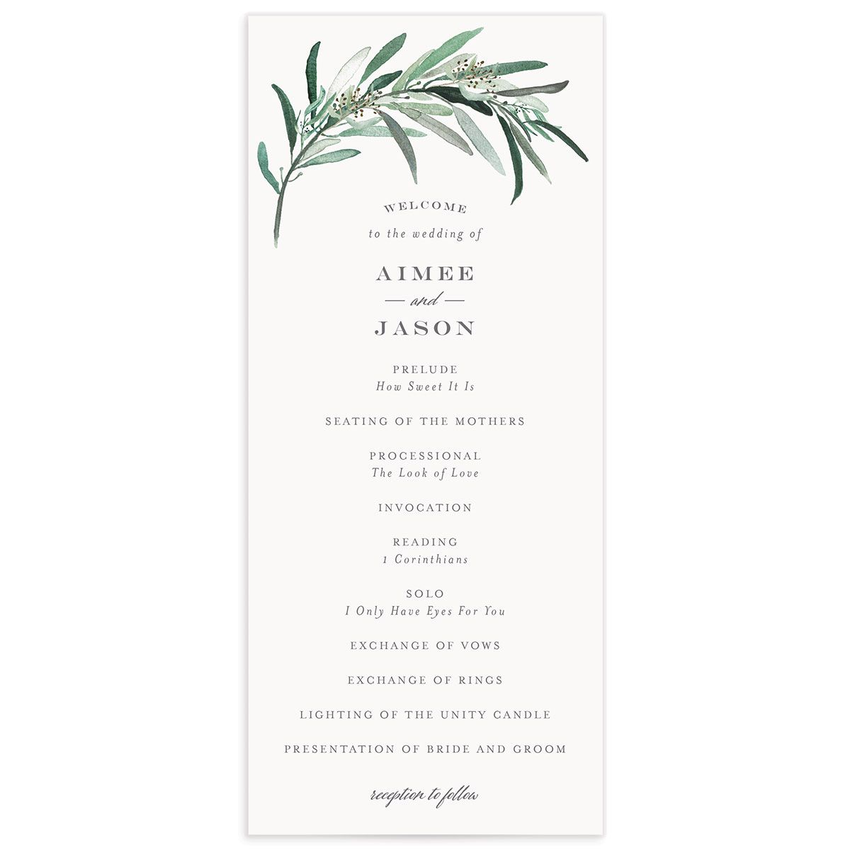 Lush Greenery Wedding Program front