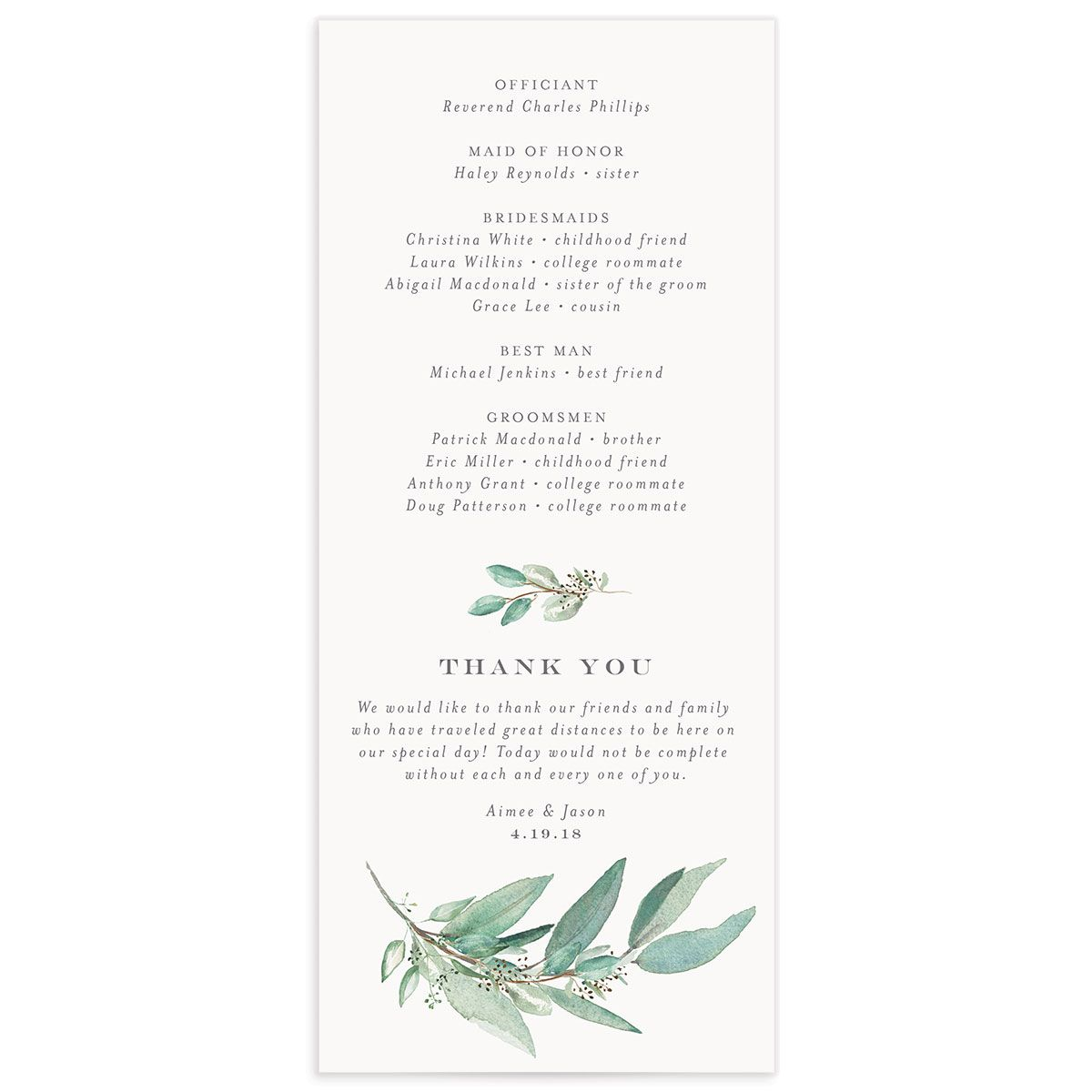Lush Greenery Wedding Program back