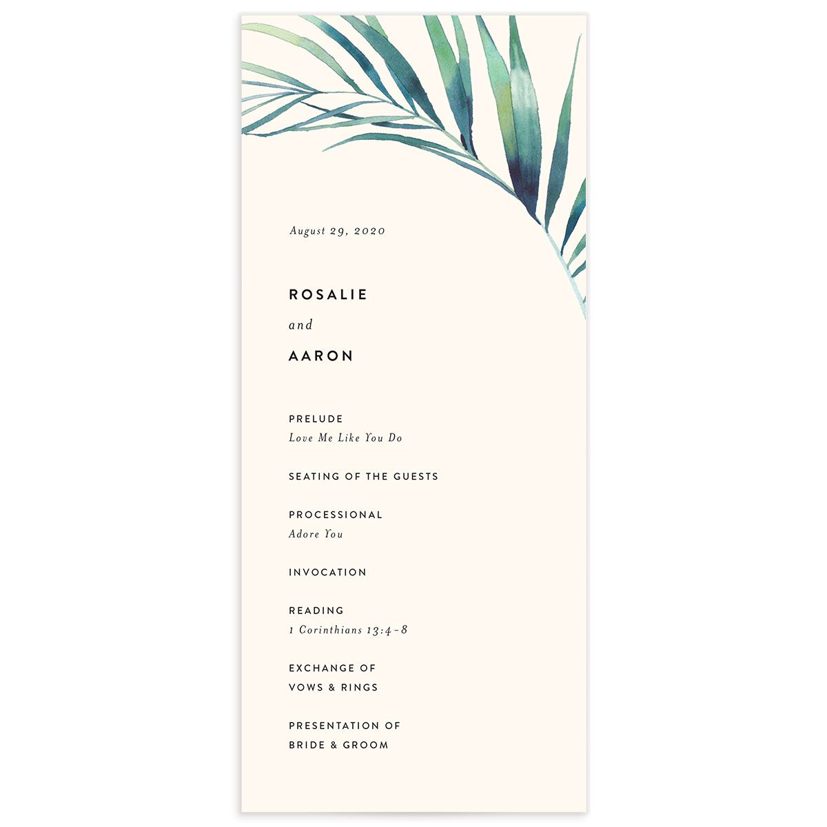 Palm and Protea wedding programs front