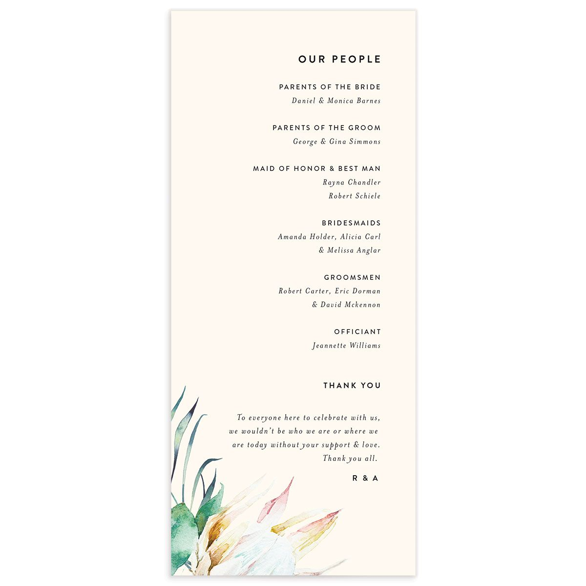 Palm and Protea wedding programs back