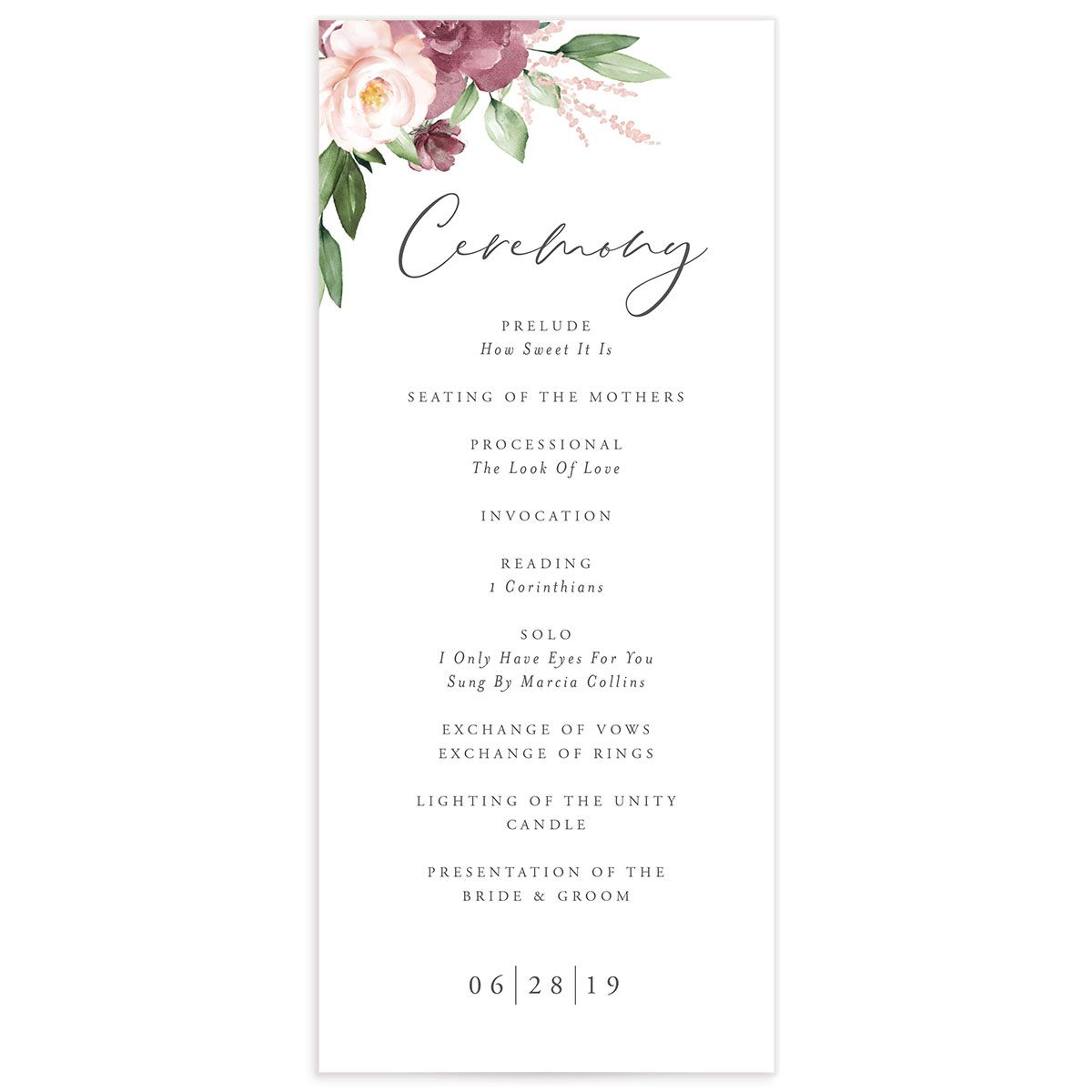 Beloved Floral Ceremony Programs in purple