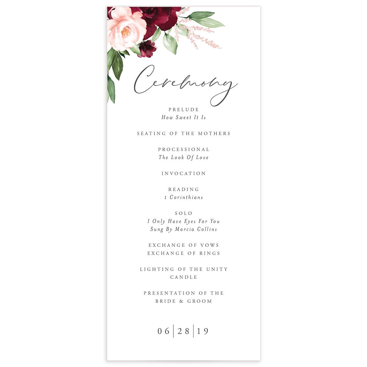 Beloved Floral Ceremony Programs in red