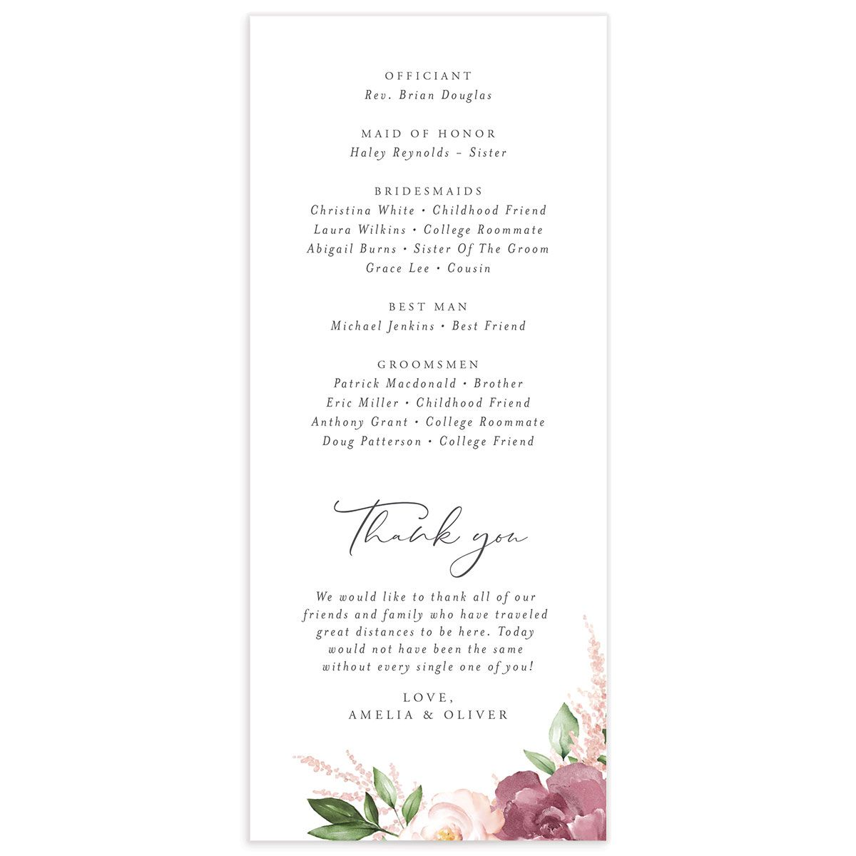 Beloved Floral Ceremony Programs in purple back