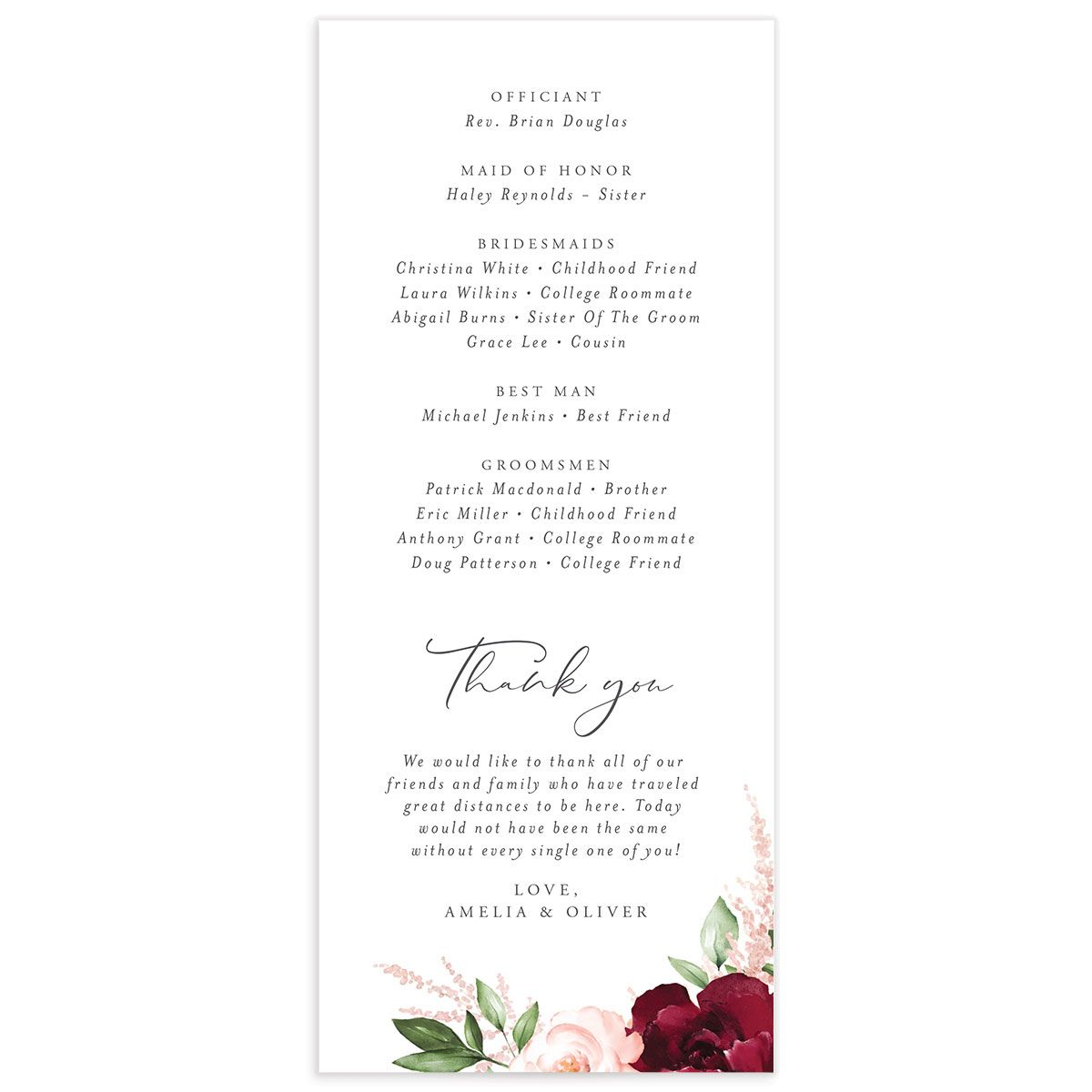 Beloved Floral Ceremony Programs in red back
