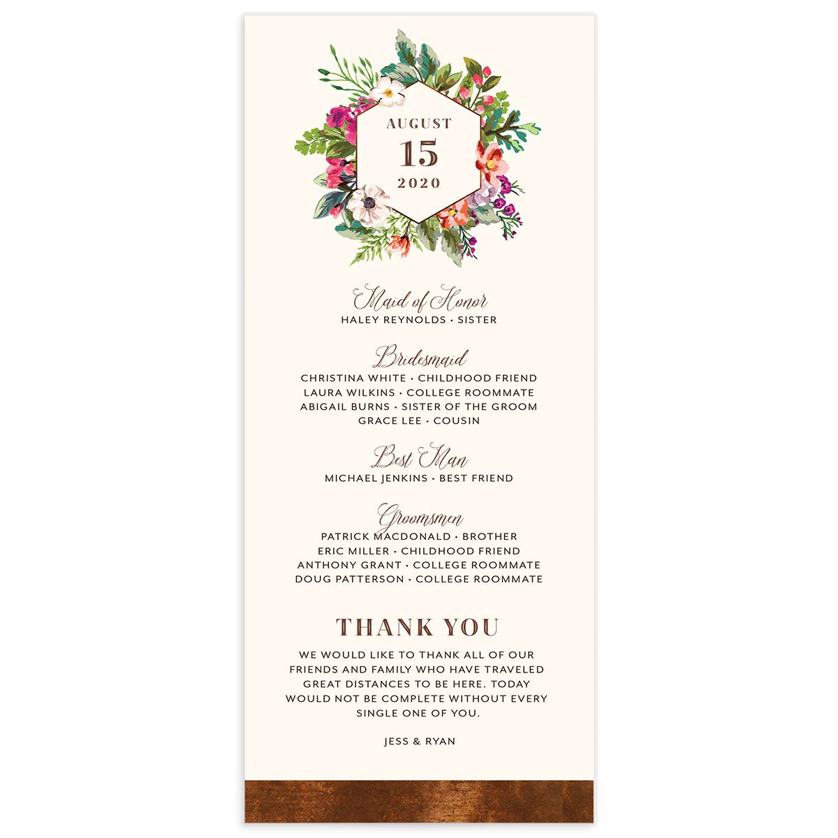 Bronze Floral Frame Wedding Programs back