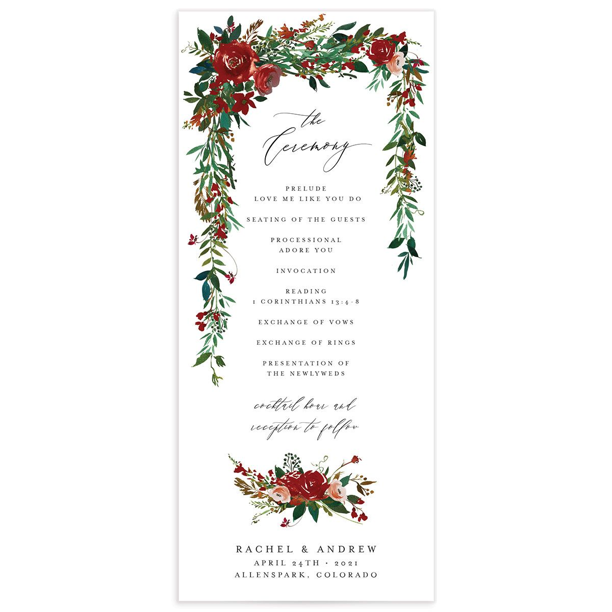 Cascading Altar wedding programs in burgundy