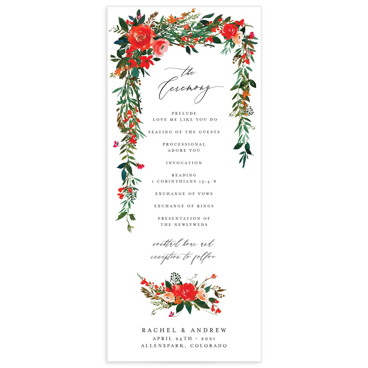 Cascading Altar wedding programs in bright red