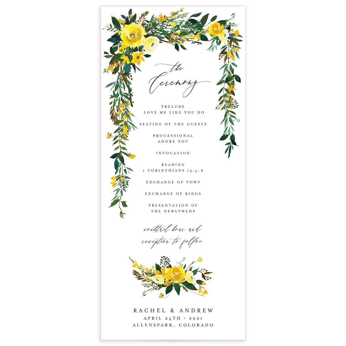 Cascading Altar wedding programs in yellow