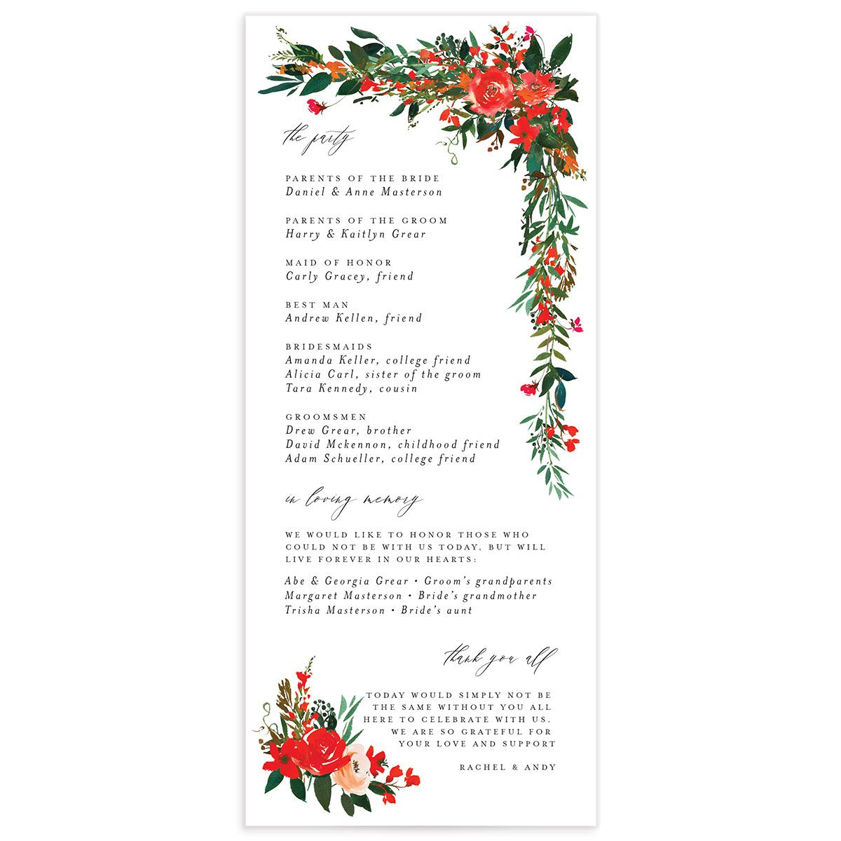 Cascading Altar wedding programs in bright red back