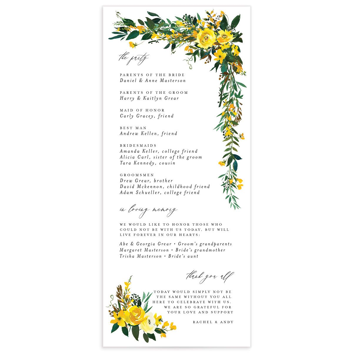 Cascading Altar wedding programs in yellow back