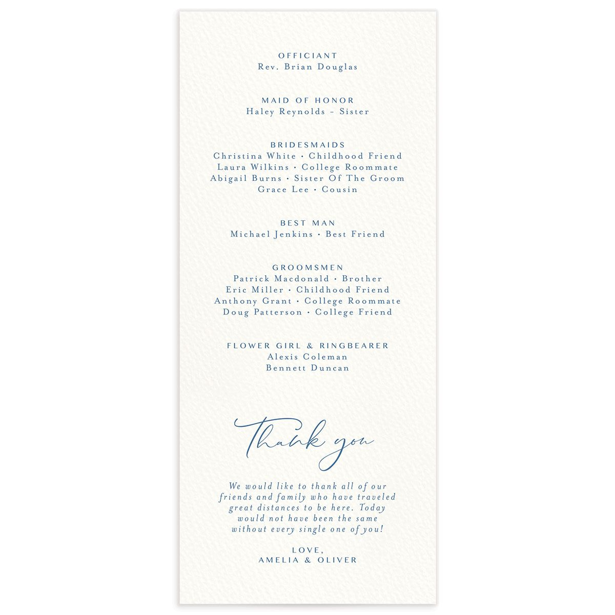 Coastal Love wedding programs back in blue