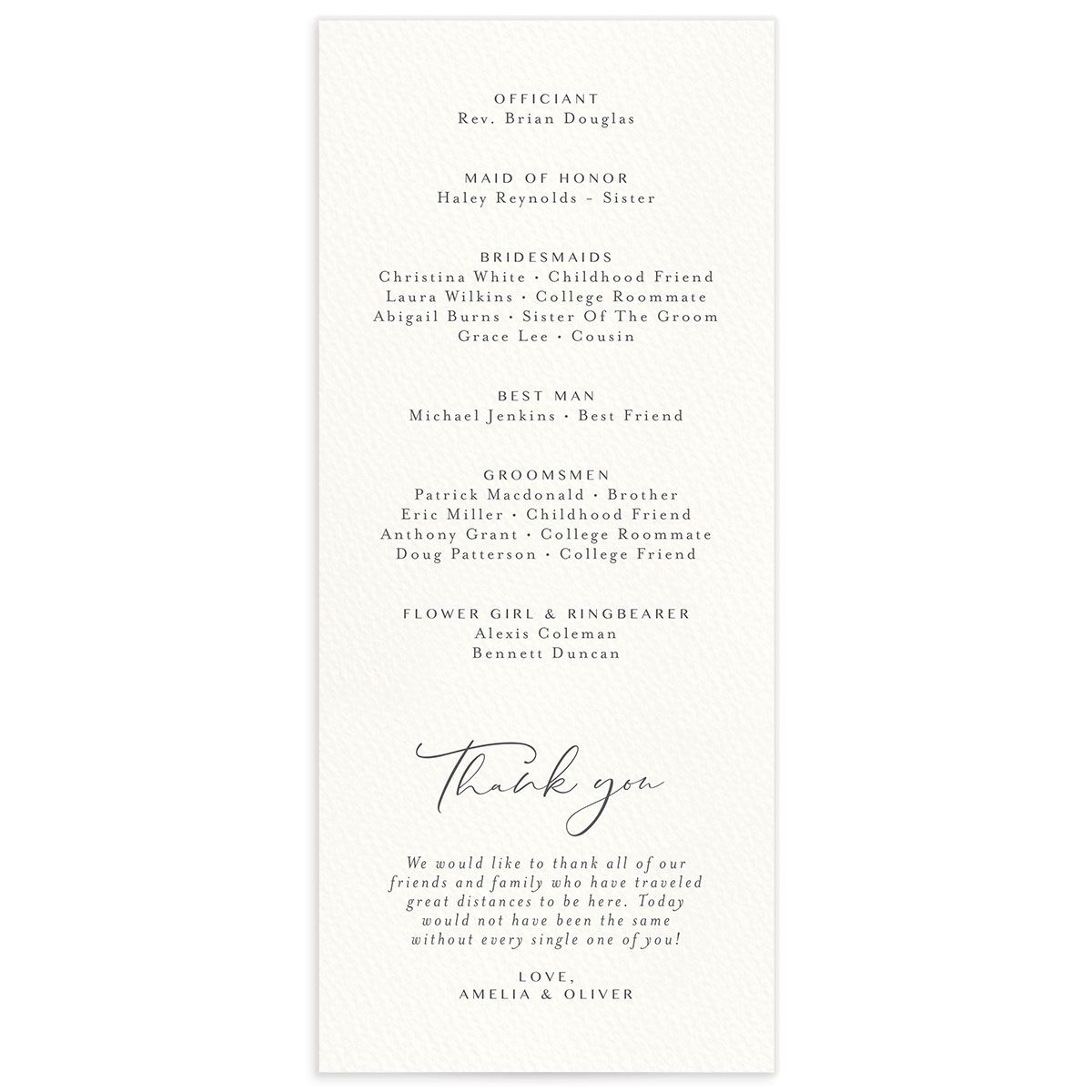 Coastal Love wedding programs back in grey
