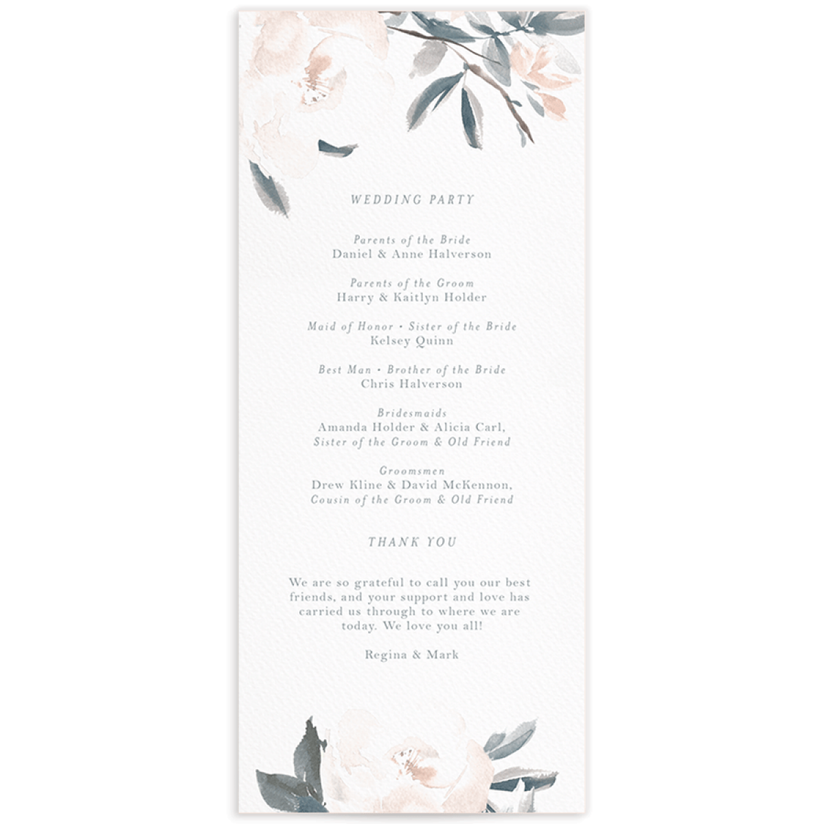 Elegant Garden wedding programs in blue backer