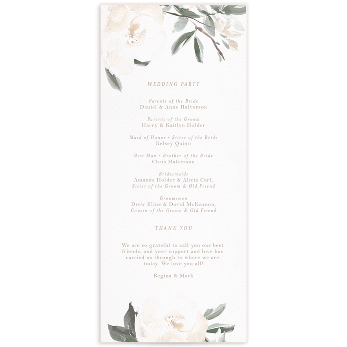 Elegant Garden wedding programs in green backer