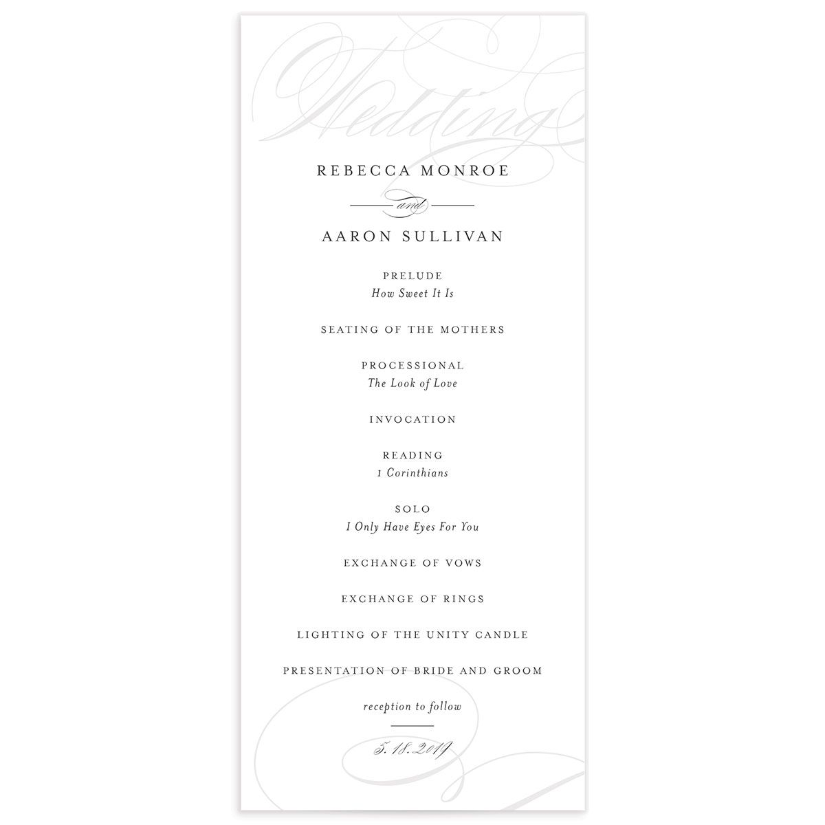elegantly initialed wedding programs