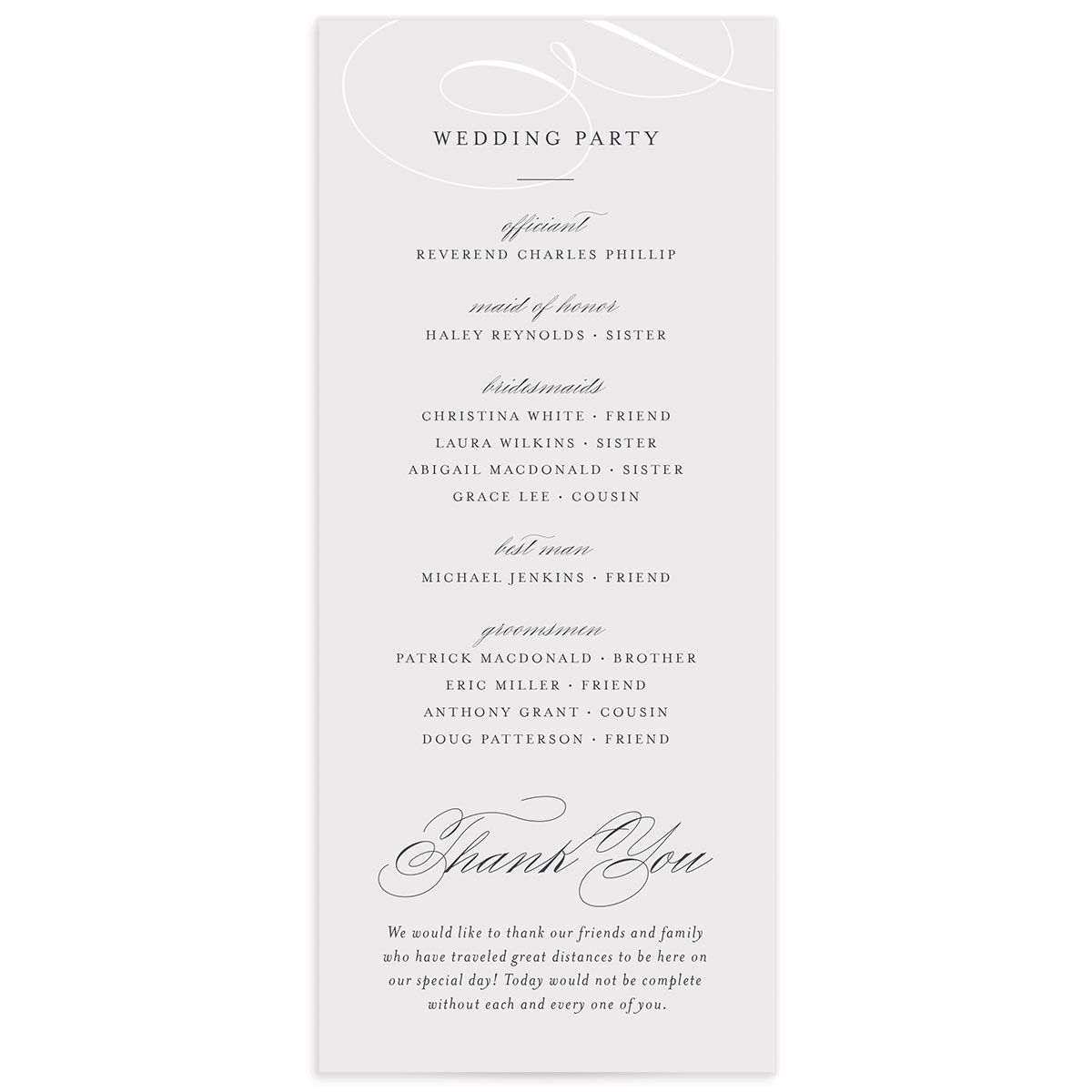 elegantly initialed wedding programs back
