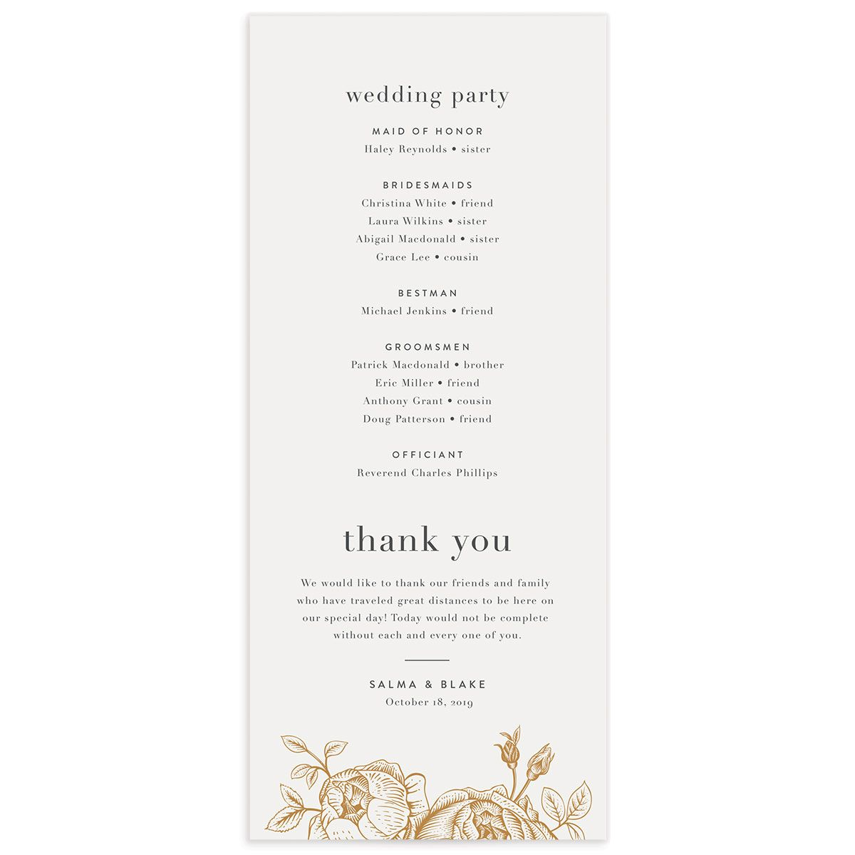 Etched botanical wedding programs back