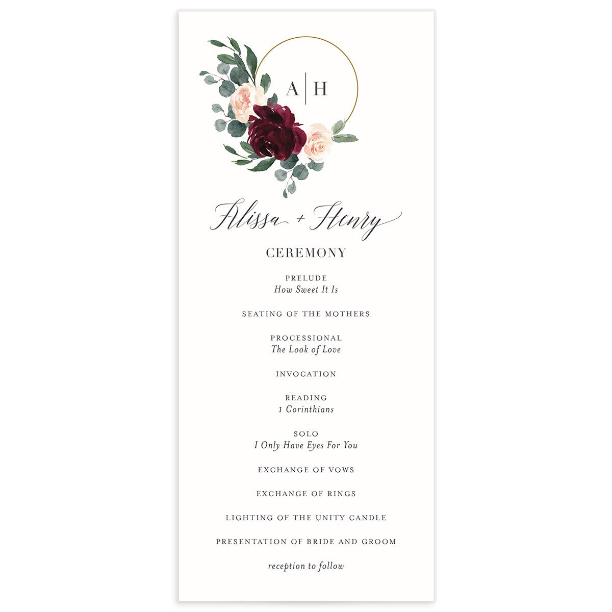 Floral Hoop Wedding Ceremony Programs