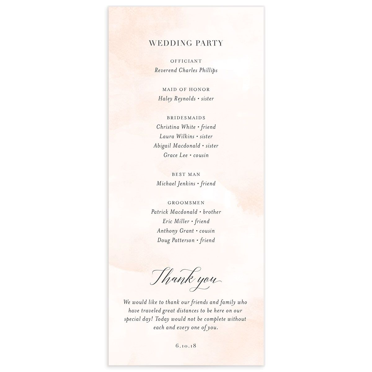 Floral Hoop Wedding Program Back