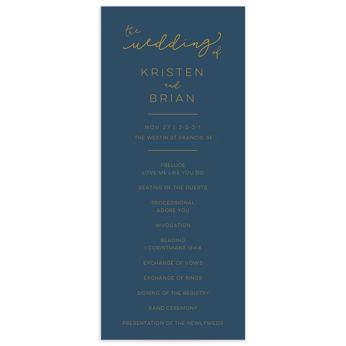 Modern Calligraphy Wedding Programs front, in blue