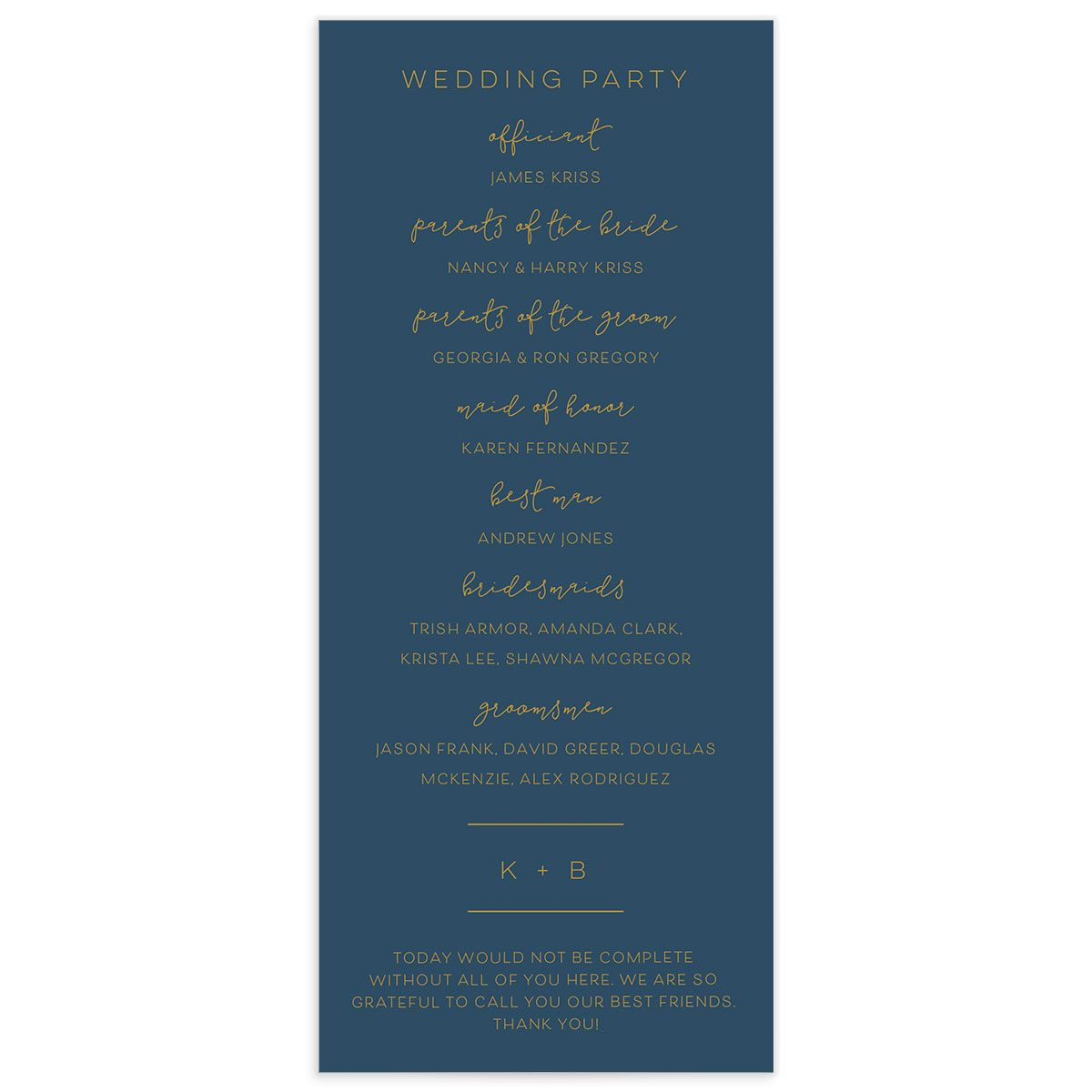 Modern Calligraphy Wedding Programs back in blue