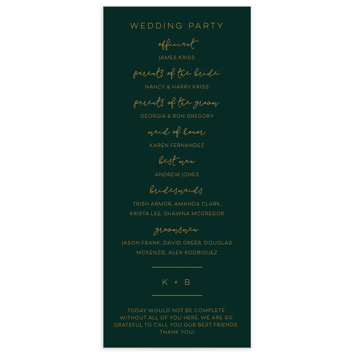 Modern Calligraphy Wedding Programs back in green
