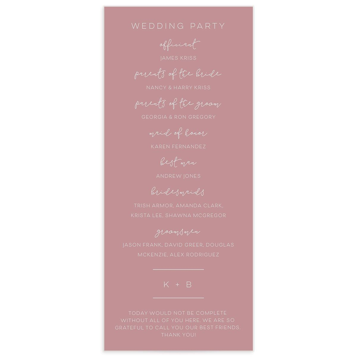 Modern Calligraphy Wedding Programs back in pink