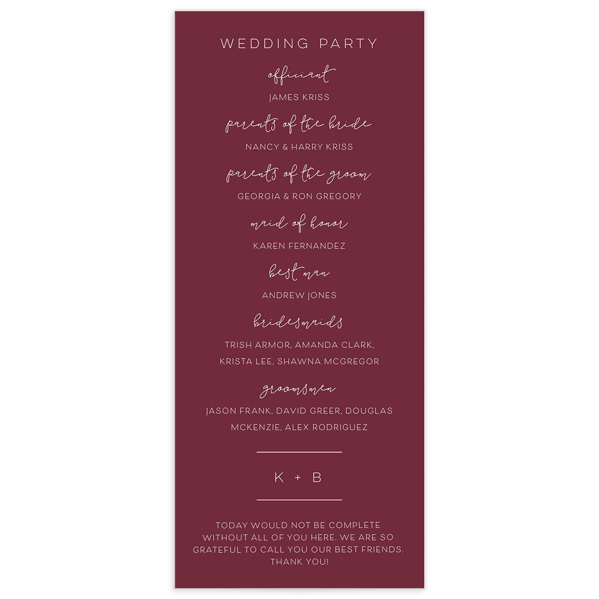 Modern Calligraphy Wedding Programs back in red