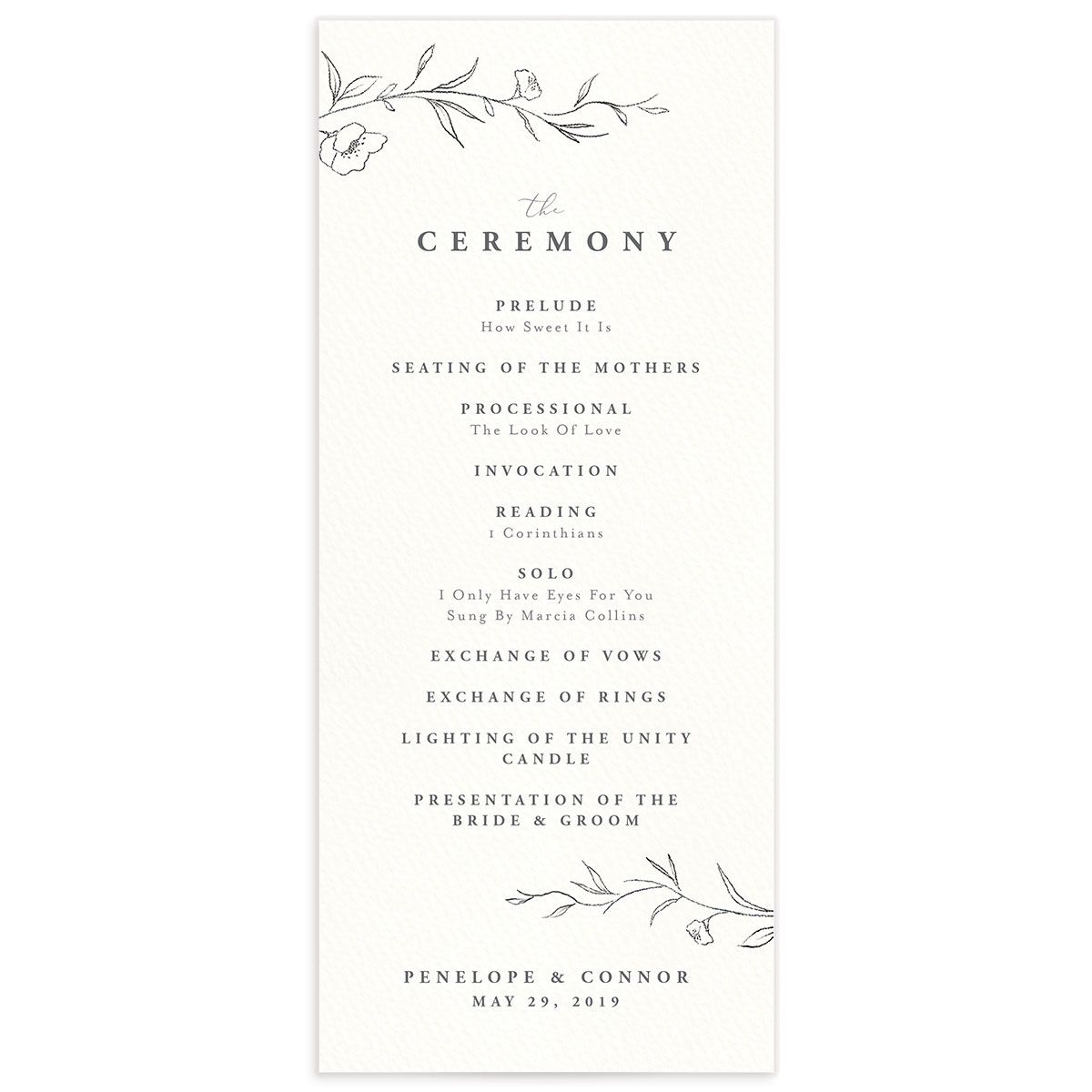 graceful botanical wedding programs in grey