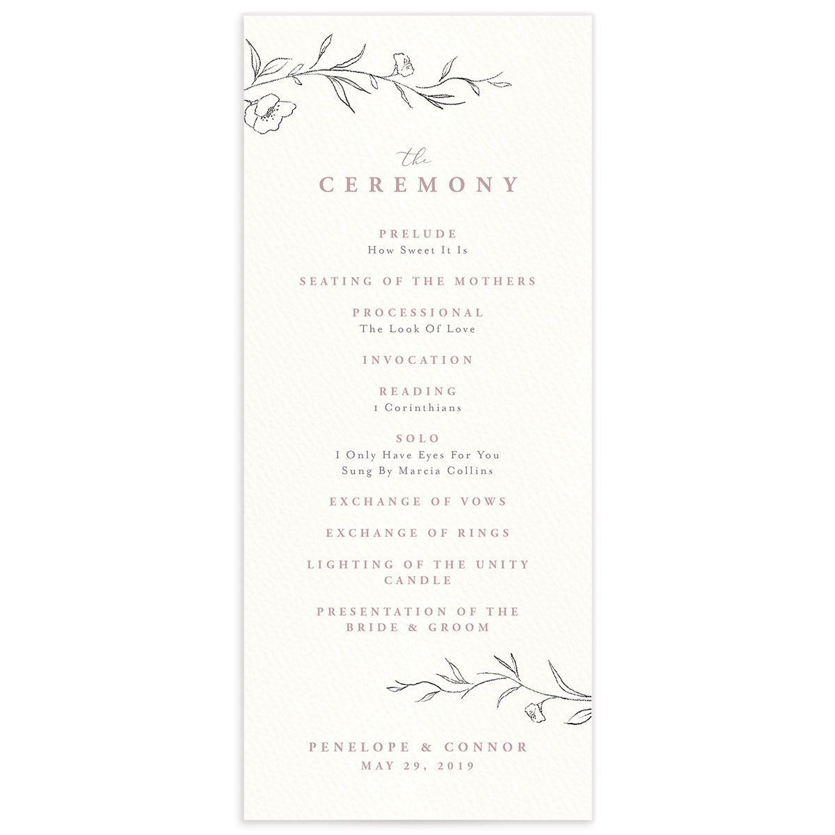 graceful botanical wedding programs in pink