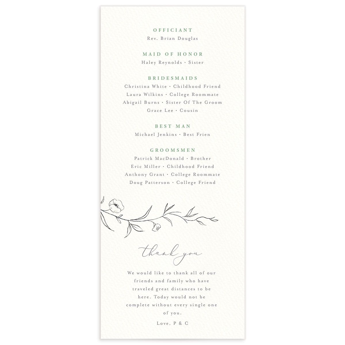 graceful botanical wedding programs in green back