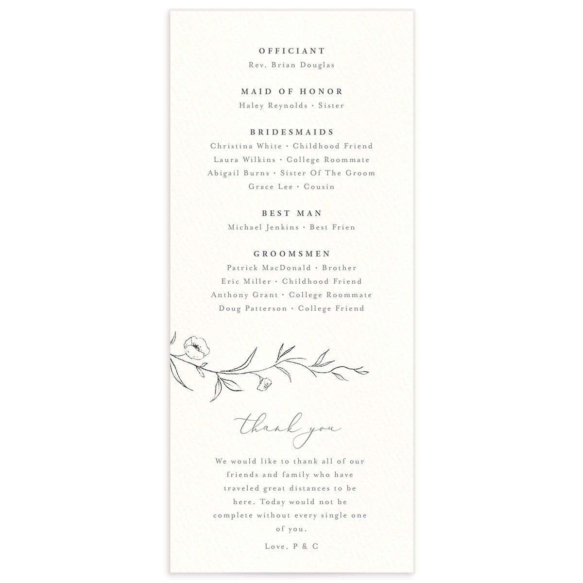 graceful botanical wedding programs in grey back