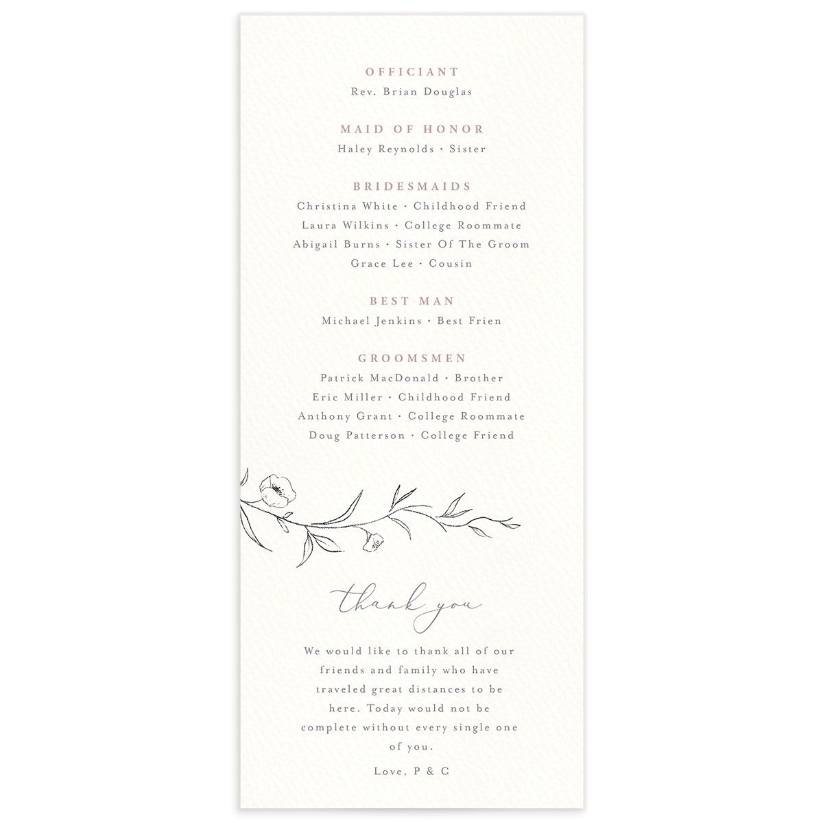 graceful botanical wedding programs in pink back