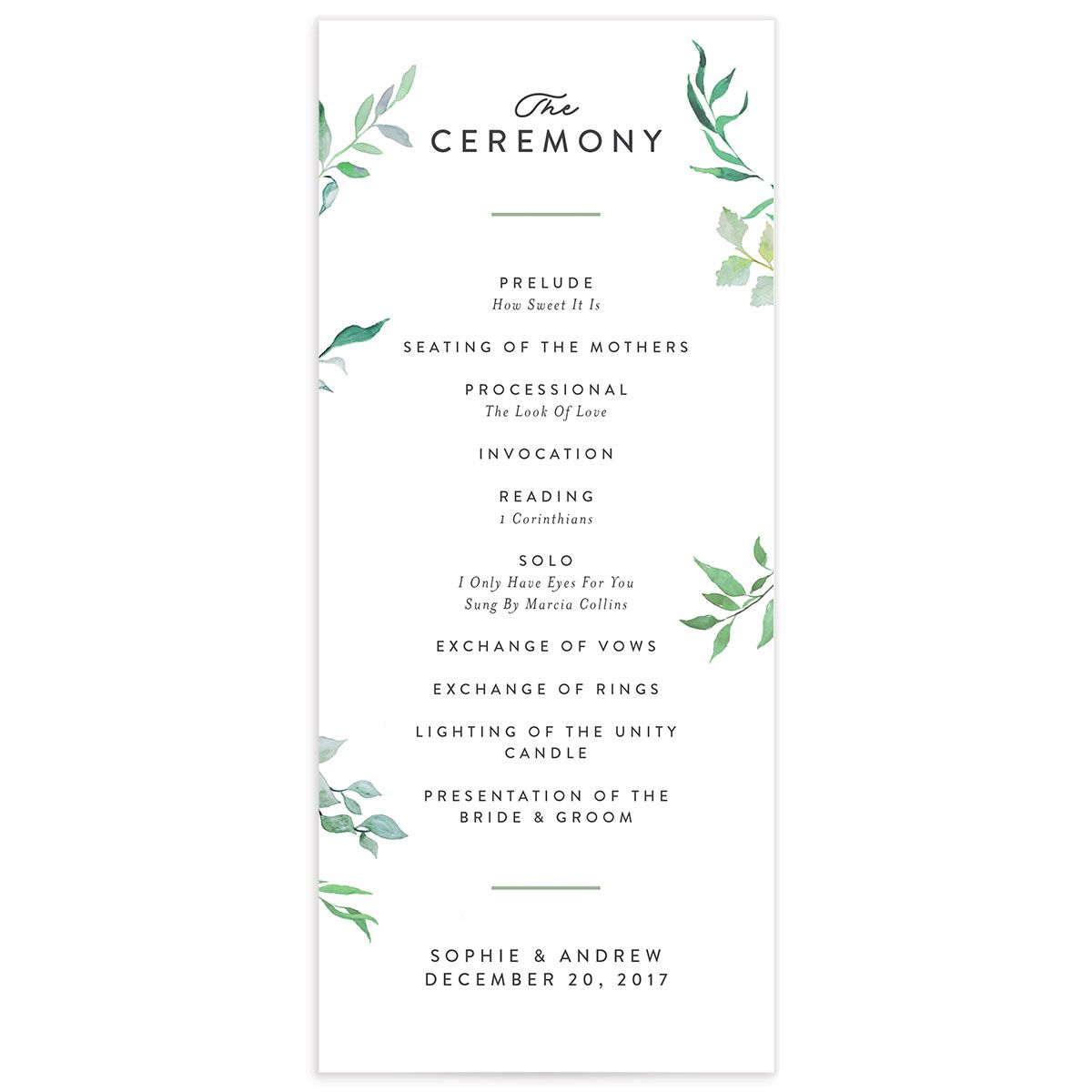 greenery ampersand wedding programs in green