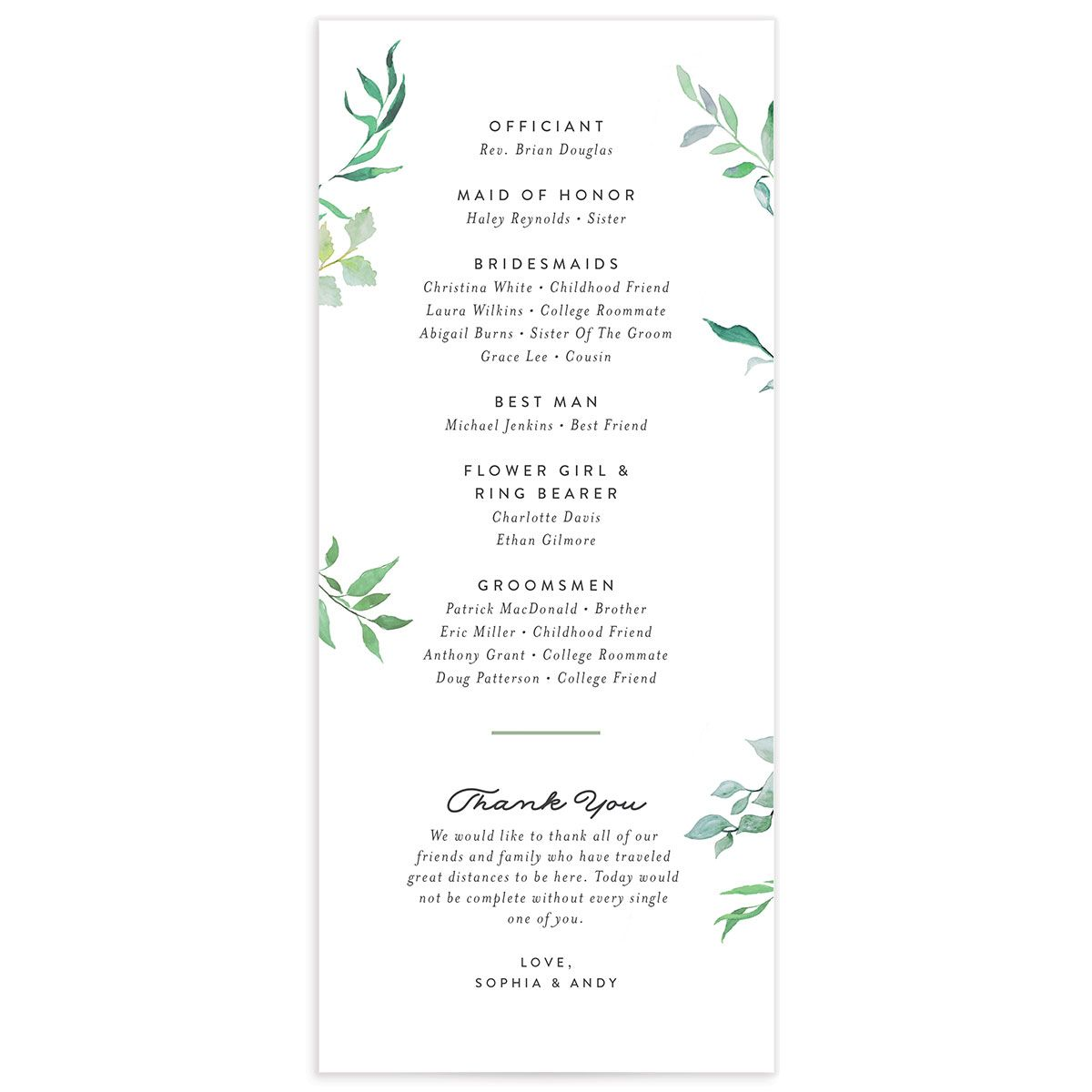 greenery ampersand wedding programs in green back