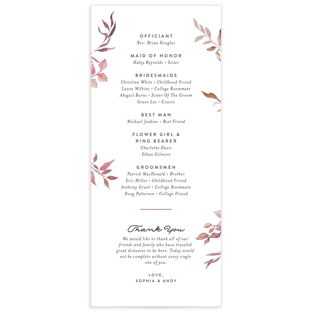 greenery ampersand wedding programs in purple back