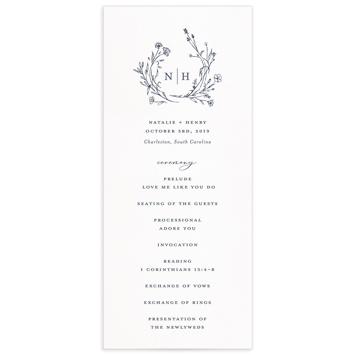 Natural Monogram wedding program fronts in blue