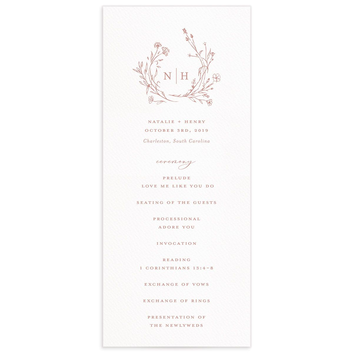 Natural Monogram wedding programs in pink