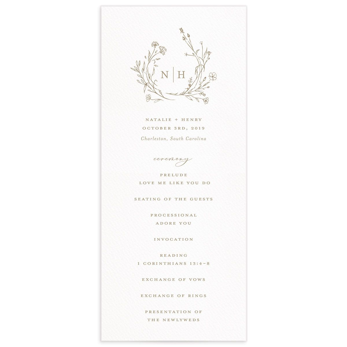 Natural Monogram wedding program fronts in tan