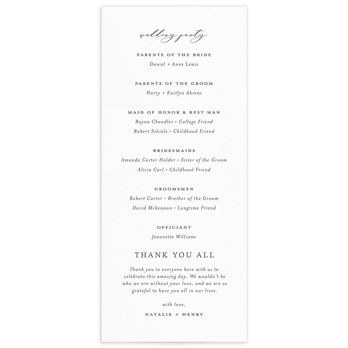 Natural Monogram wedding program backs in blue