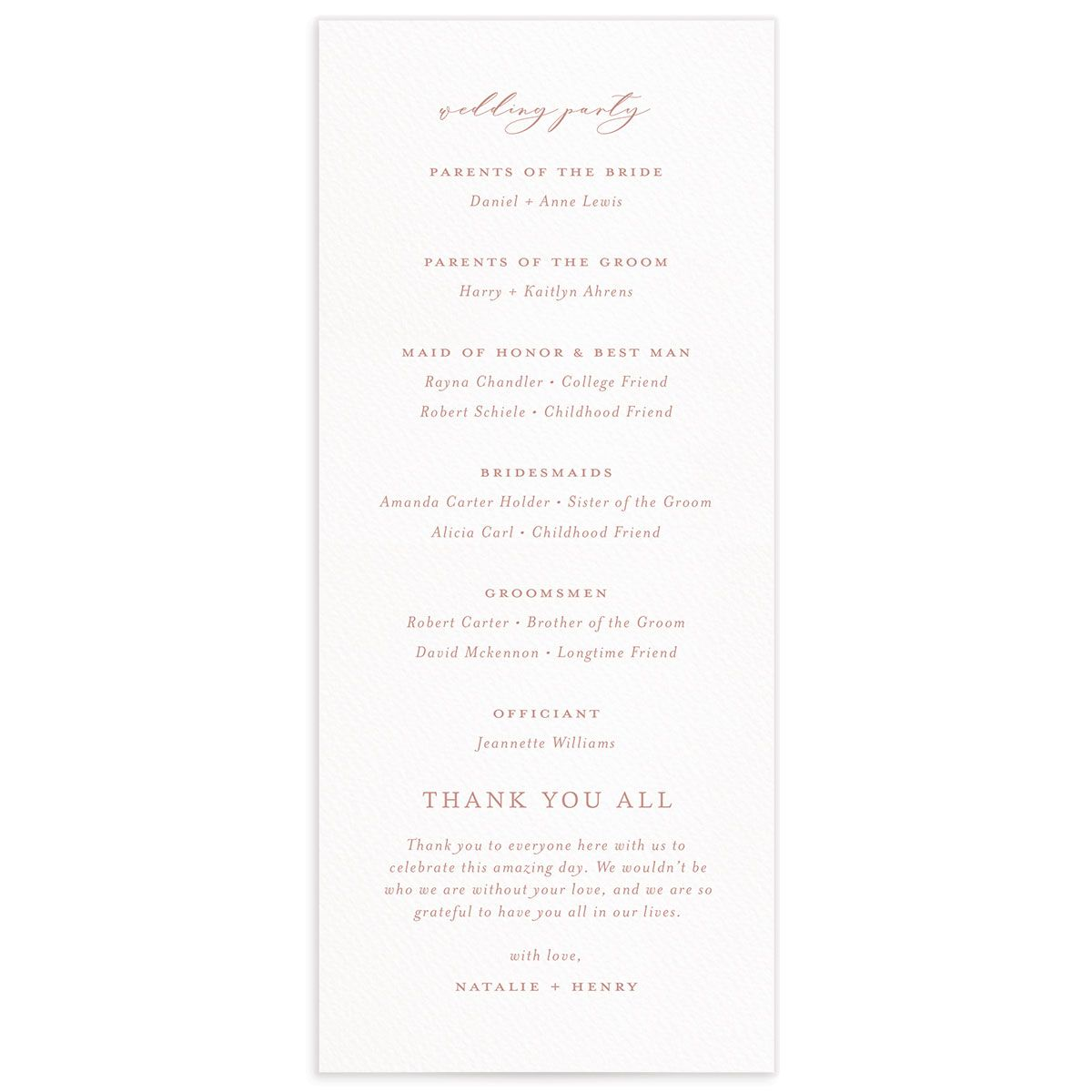 Natural Monogram wedding program backs in pink