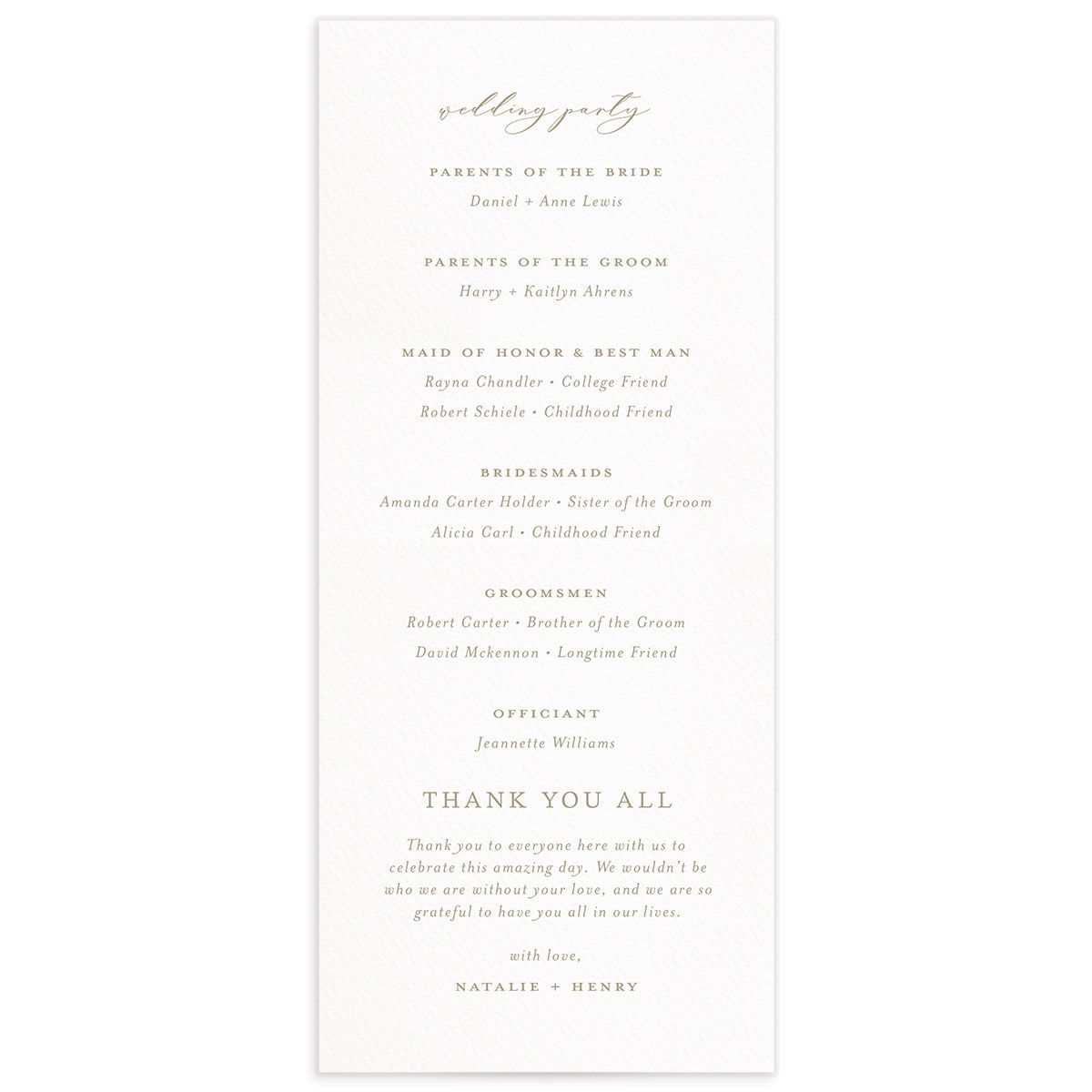 Natural Monogram wedding program backs in tan