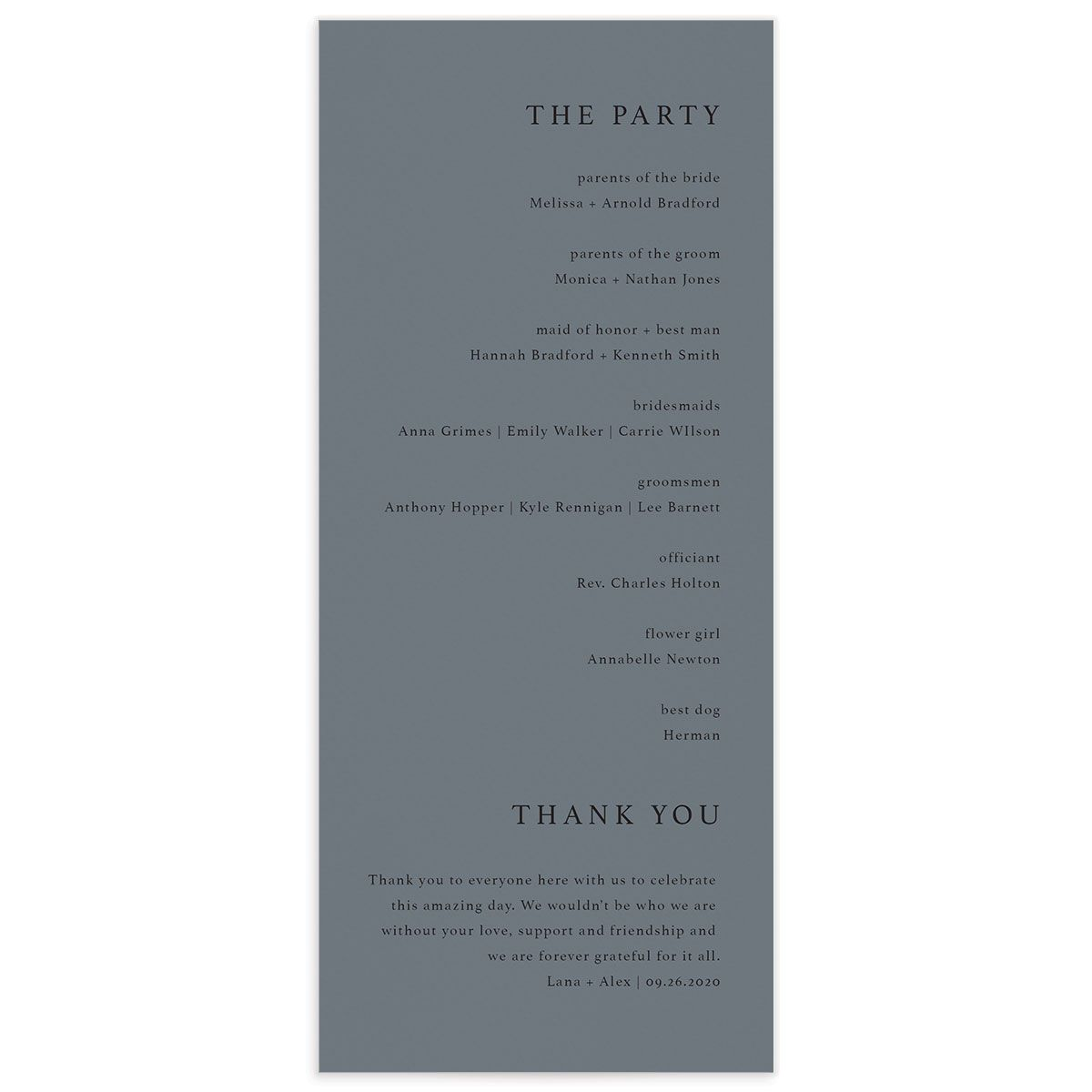 Natural Palette wedding program in blue back