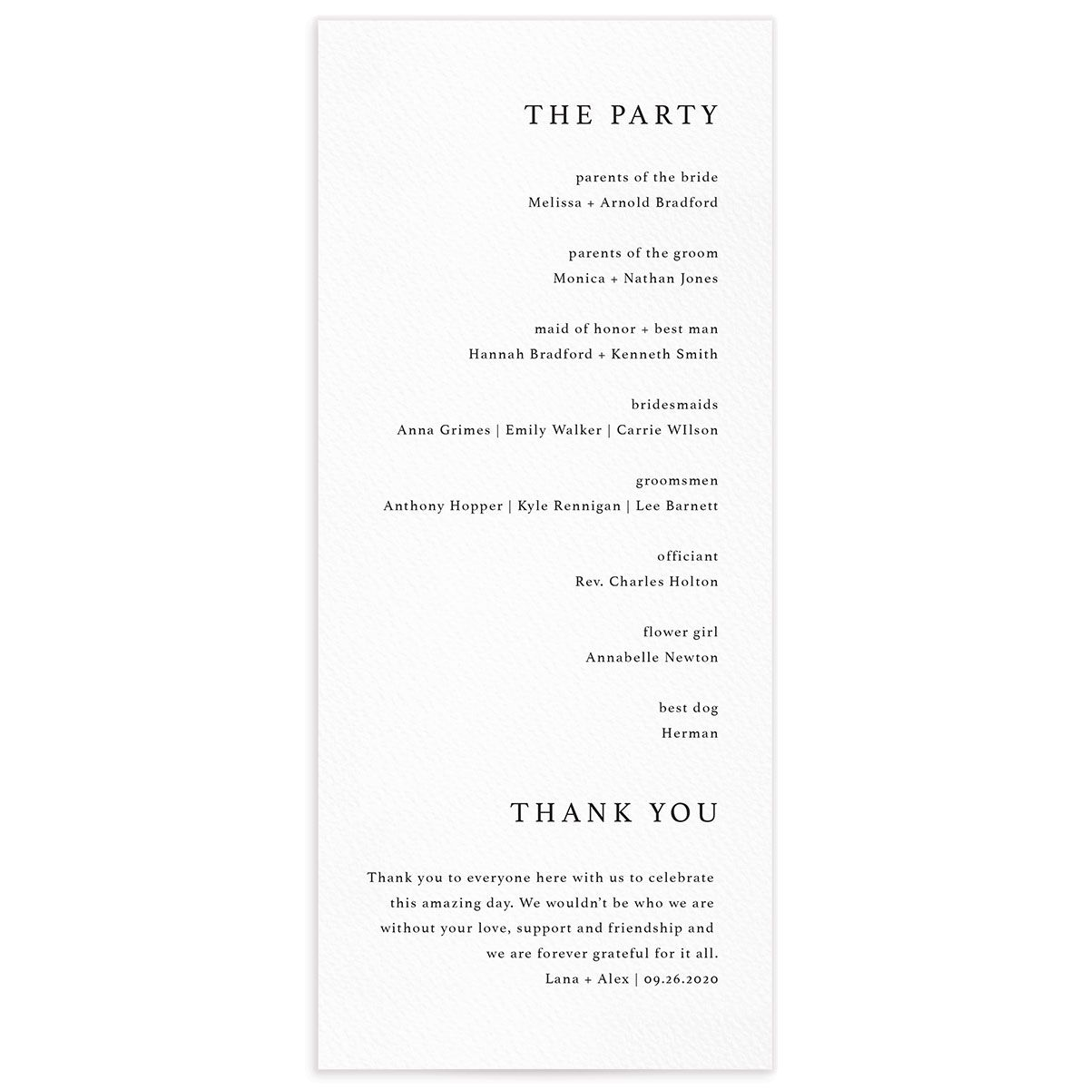 Natural Palette wedding program in white back