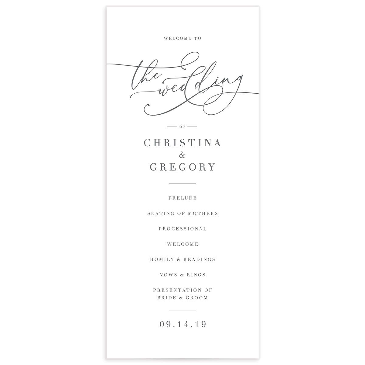 Romantic Calligraphy wedding programs front in grey