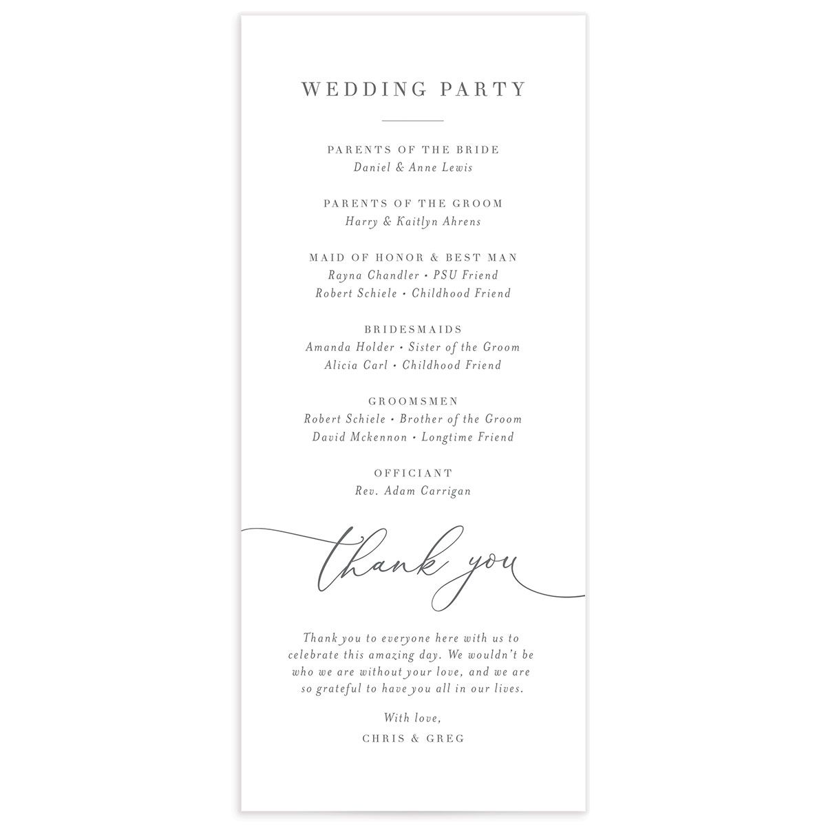 Romantic Calligraphy wedding programs back in grey