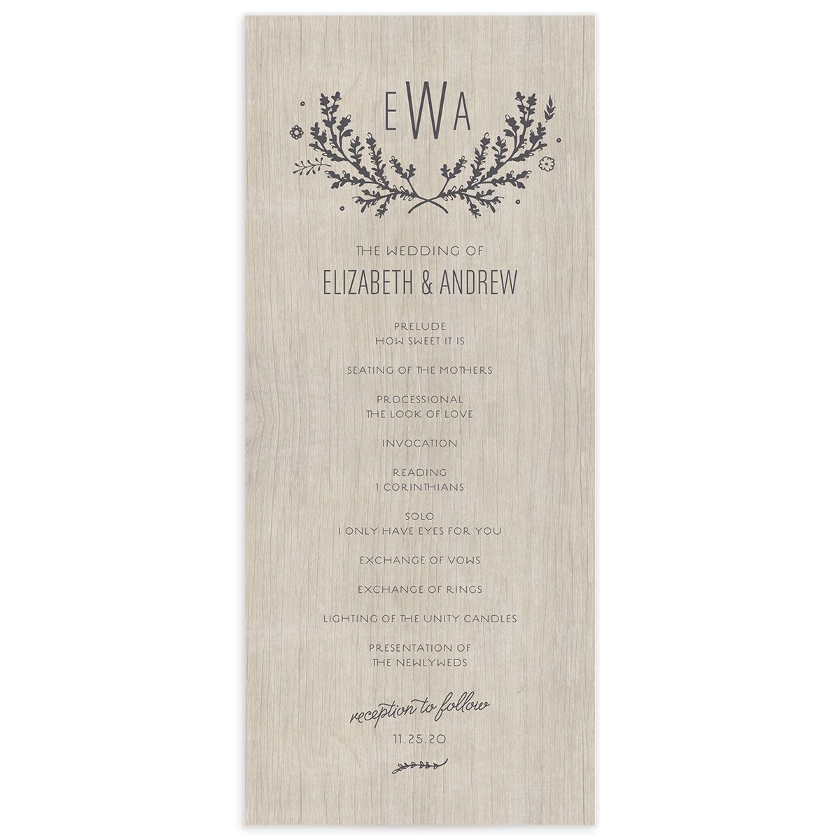 rustic chic wedding programs in grey